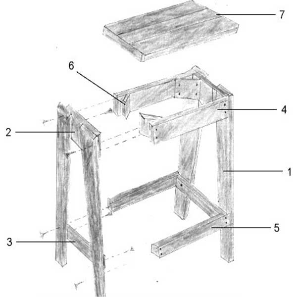 ساخت چهارپایه چوبی گرد
